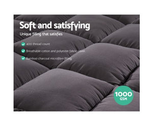 Giselle Single Mattress Topper Pillowtop 1000GSM Charcoal Microfibre Bamboo Fibre Filling Protector