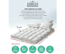 Load image into Gallery viewer, Giselle Double Mattress Topper Pillowtop 1000GSM Microfibre Filling Protector