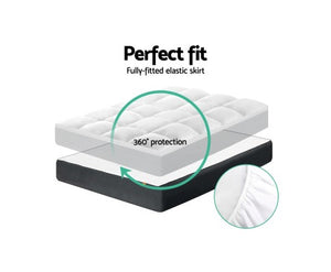 Giselle Double Mattress Topper Pillowtop 1000GSM Microfibre Filling Protector