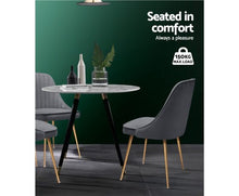 Load image into Gallery viewer, Artiss Dining Chairs Retro Chair Cafe Kitchen Modern Iron Legs Velvet Grey x2