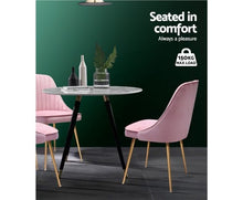 Load image into Gallery viewer, Artiss Dining Chairs Retro Chair Cafe Kitchen Modern Iron Legs Velvet Pink x2