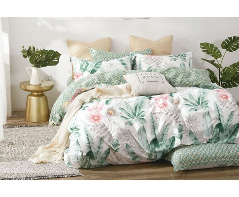 King Size 3pcs Cotton Floral Leaf Quilt Cover Set - LIMITED RELEASE