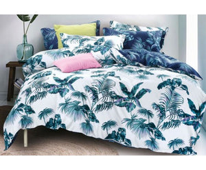 Queen Size 3pcs Tropical Plant Quilt Cover Set