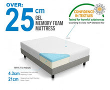 Load image into Gallery viewer, Palermo Single 25cm Gel Memory Foam Mattress - Dual-Layered - CertiPUR-US Certified
