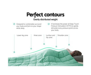 Giselle Weighted Blanket Kids 2.3Kg Heavy Gravity Cooling Blankets Summer Aqua