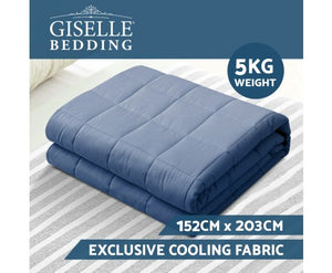 Giselle Weighted Blanket Adult 5KG Heavy Gravity Cooling Blankets Summer Blue