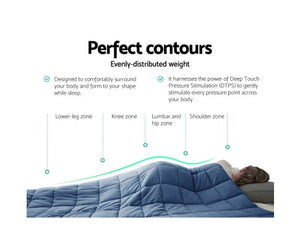 Giselle Weighted Blanket Adult 7KG Heavy Gravity Cooling Blankets Summer Blue