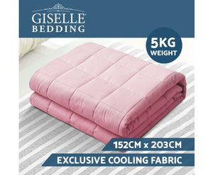 Giselle Weighted Blanket Kids 2.3KG Heavy Gravity Cooling Blankets Summer Pink