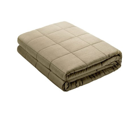 Giselle Bedding 7KG Cotton Weighted Blanket Heavy Gravity Calm Size Brown