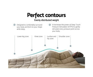 Giselle Bedding 9KG Cotton Weighted Blanket Heavy Gravity Calm Size Brown