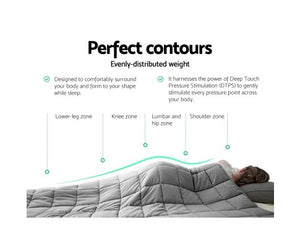 Giselle Bedding 7KG Cotton Weighted Gravity Blanket Deep Relax Calming Adults Light Grey