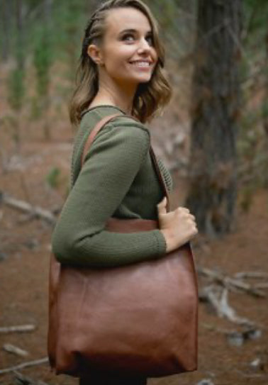 Catie Leather Tote - Red Brown