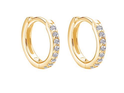 Small Hoop 11mm diameter White Topaz-18KT Yellow Gold Plate