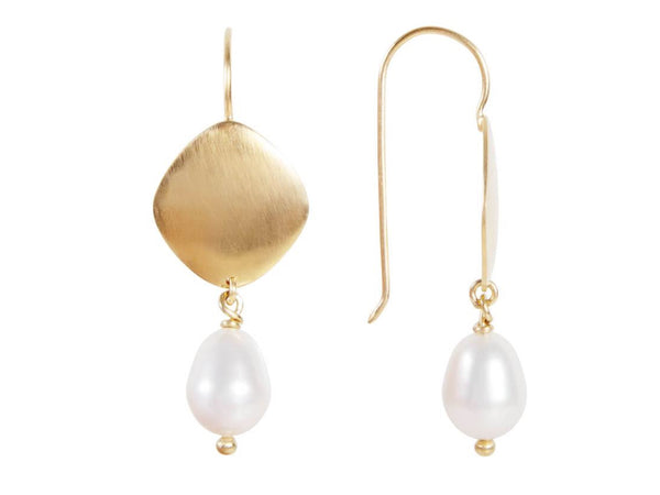 Pearl Disc Drop Earrings