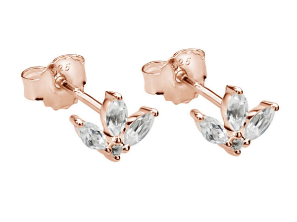 Lotus Studs With White Topaz in Rose Gold