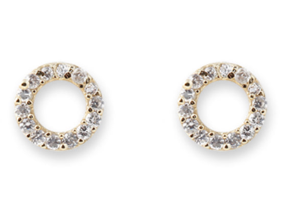 Gold plate CZ Circle stud earrings
