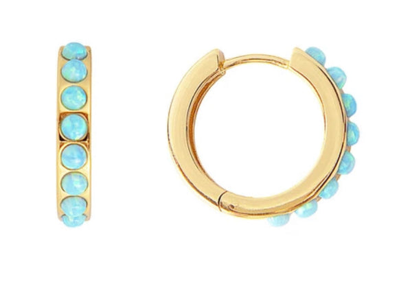 Blue Opal Crystal Midi Hoops