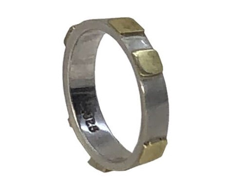 Sterling Silver Band with Brass Squares KUAD Ring