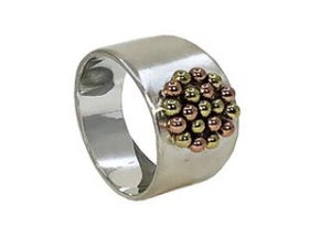 Sterling Silver Ring With Copper & Brass Balls