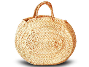 Rustic Oval Basket with Palm Handle  - Medium