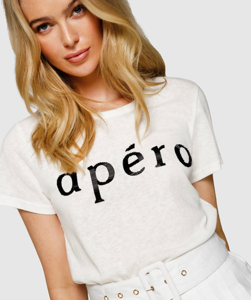 Apero Beaded Femme Tee White/ Black Bugle Bead