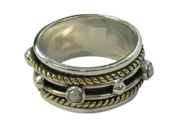 Spinner Ring Pearl 2 Tone