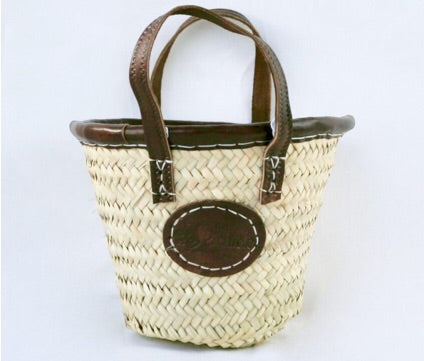 Baby Basket with Leather Trim & Handle