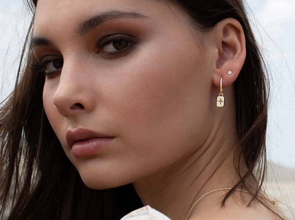 Desert Flower Rectangle Hoop Earrings - 18 KT Yellow Gold Plate