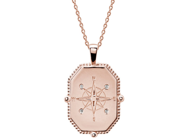 Compass Necklace with White Topaz in Rose Gold Plate