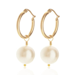 Matriarch Hoop Gold/Pearl Earrings