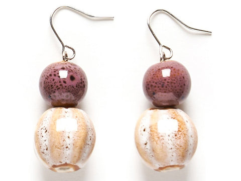 Double Ceramic Drop Earrings - Natural