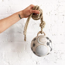 Ceramic Sun, Moons and Stars Domed Jingle Bell