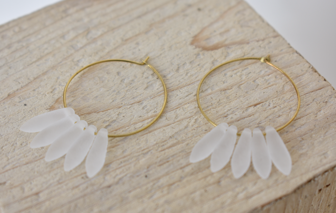 Etched crystal hoop earrings