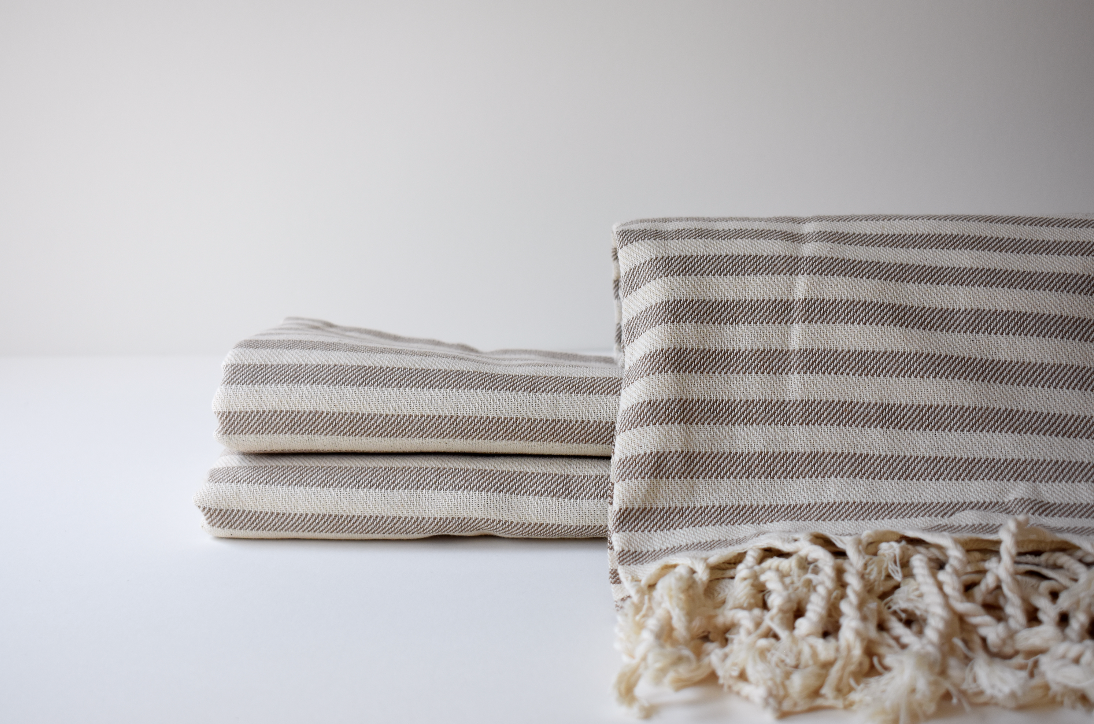 Organic Turkish Towel in Beige Cream Stripe
