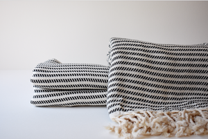 Organic Turkish Towel in Black Line Striped
