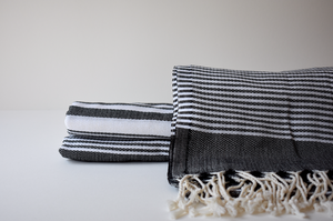 Organic Turkish Towel in Black Multi Stripe