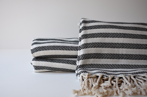 Organic Turkish Towel in Cream Black Stripe