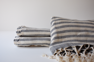 Organic Turkish Towel in Grey Stacked Stripe