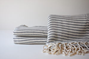 Organic Turkish Towel in Grey Zigzag Stripe