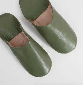 Moroccan Round Slipper in Olive