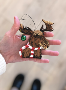 Hand painted holiday moose