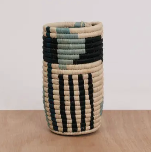 Geo blue night raffia vase