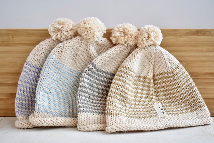 Hand knit striped baby hats