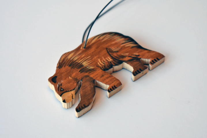 Hand painted bear ornament