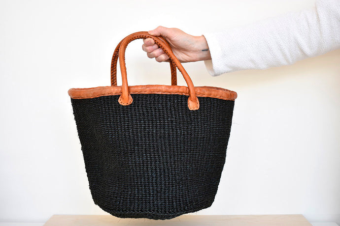 Handwoven Market Basket in Black
