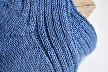 Japanese Linen Ribbed Socks in Blue