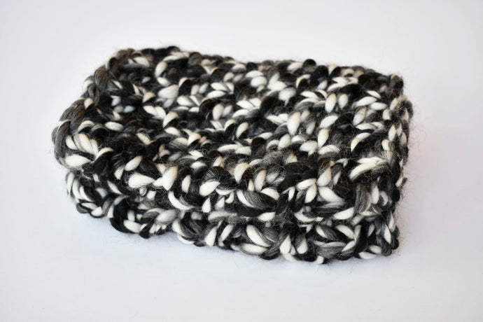 The Hygge Cowl in Mixed Black/White