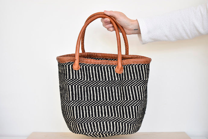 Handwoven Market Basket in Black/Beige