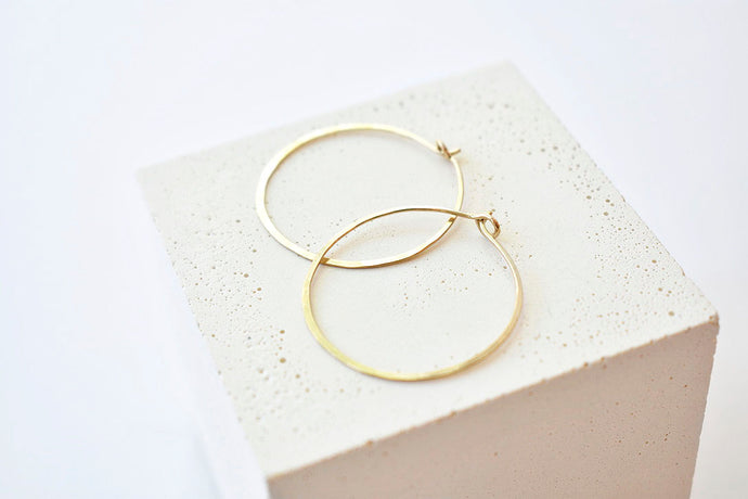 Hammered 14K Gold Hoops - Medium