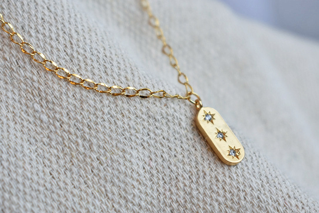 Triple Star Tag Charm Necklace